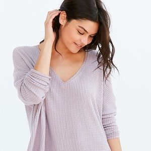 Urban Outfitters Oversized Cozy Thermal V-Neck Top